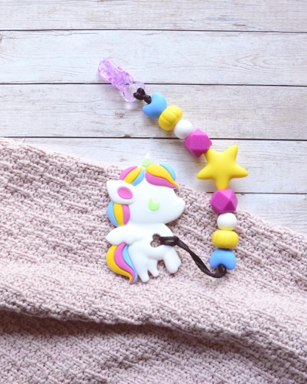 Smycz kolorowa z gryzakiem – Jednorożec (Gryzole)