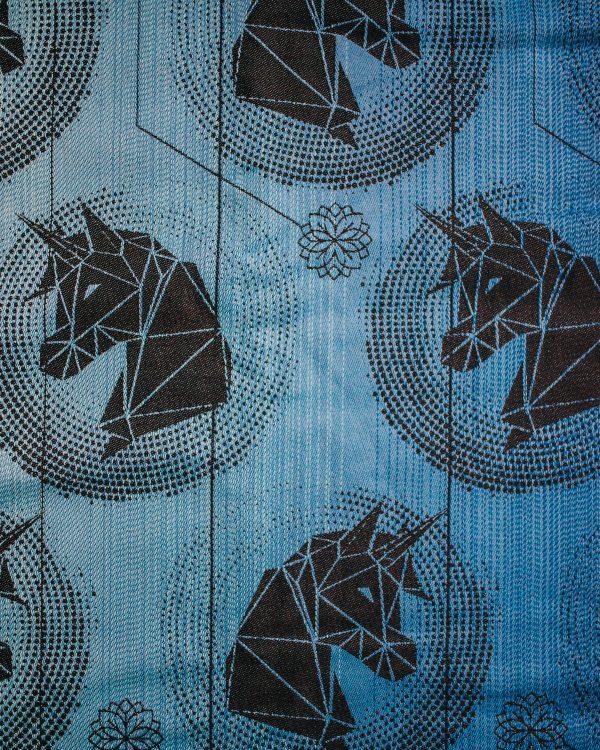 Kolekcja Autorska – Chusta tkana Niebieskie Jednorożce