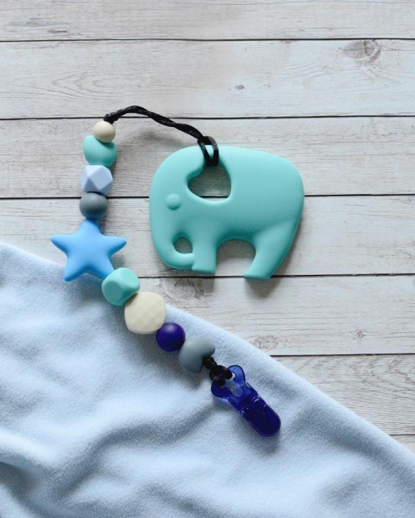 Smycz niebieska z gryzakiem turkusowy słoń (Gryzole)